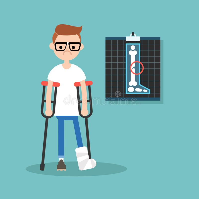 Disabled nerd on crutches with broken leg / illu. Stration, clip art royalty free illustration