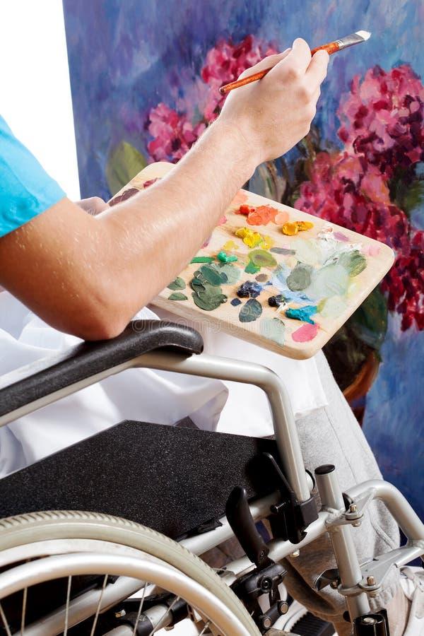Disabled painter closeup stock photos