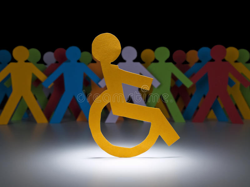 Disabled paper figure stock photos