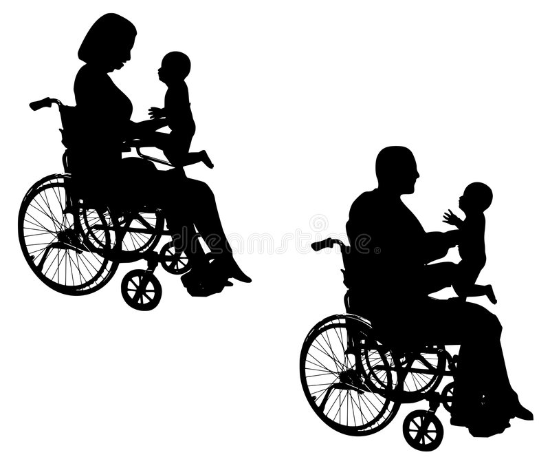 Disabled Parents With Baby. An illustration featuring disabled mom with baby and father with baby vector illustration