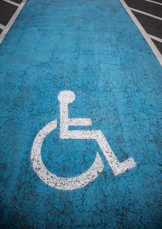 Disabled parking lot outdoors royalty free stock photography