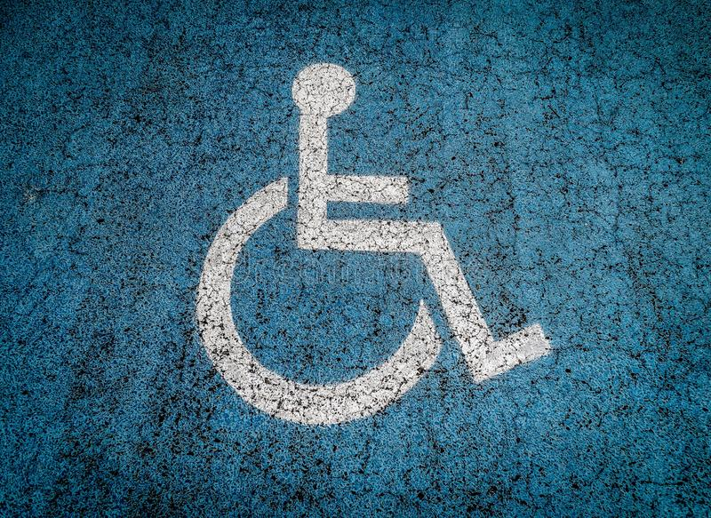 Disabled parking lot outdoors stock photography