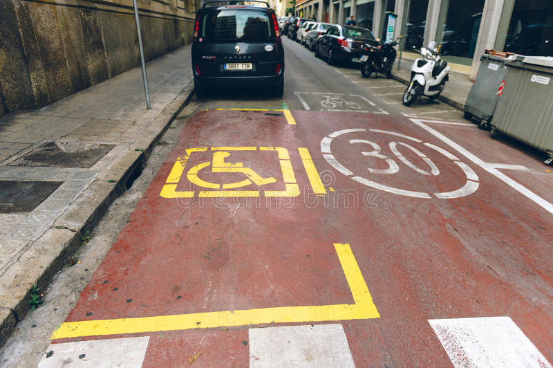 Disabled parking sign in Barcelona Spain royalty free stock photography