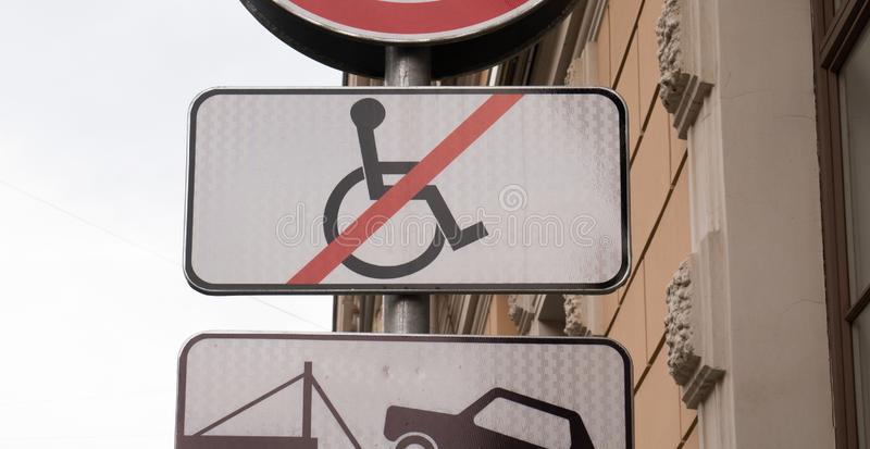Disabled parking sign, no wheelchair crossed out stock photography