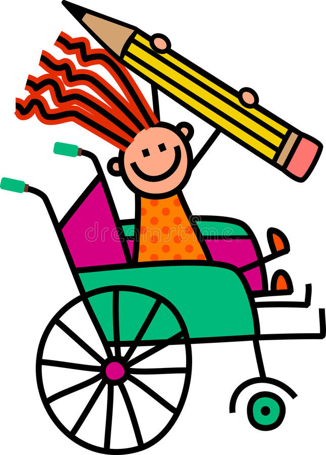 Disabled Pencil Girl. A cartoon childlike drawing of a happy disabled girl sitting in a wheelchair and holding a giant pencil royalty free illustration