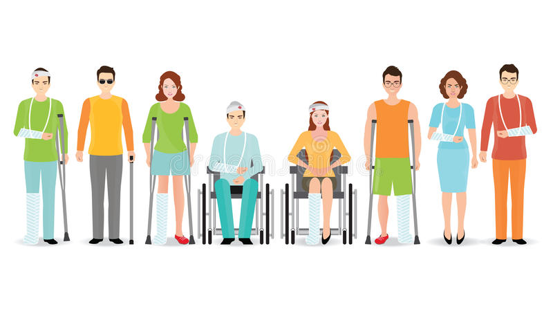 Disabled people banner isolated on white. royalty free illustration