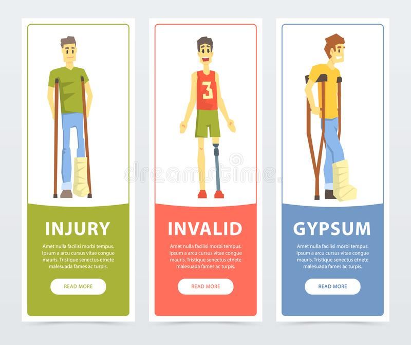 Disabled people banners set, injury, invalid, gypsum flat vector ilustrations, element for website or mobile app vector illustration