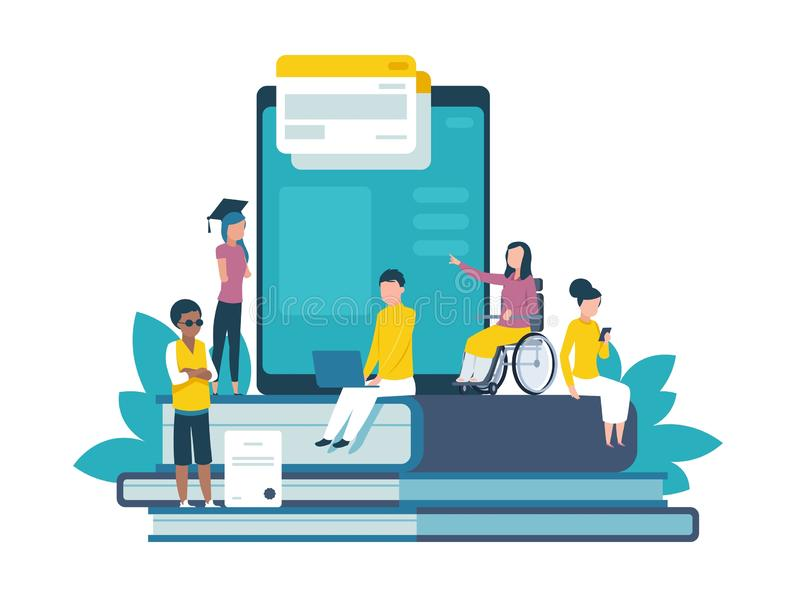 Disabled people concept. Human with disabilities happy patient hospital treatment companions of injury patients. Disable. Disabled people concept. Human with vector illustration