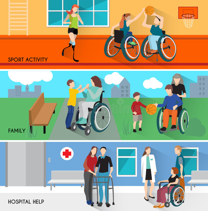 Disabled People Horizontal Banners Set stock illustration