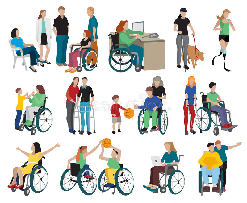 Disabled People Icons Set. With wheelchair and sports symbols flat isolated vector illustration royalty free illustration