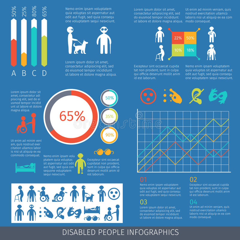 Disabled people infographic royalty free illustration