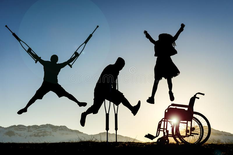 Disabled people jumping stock photos