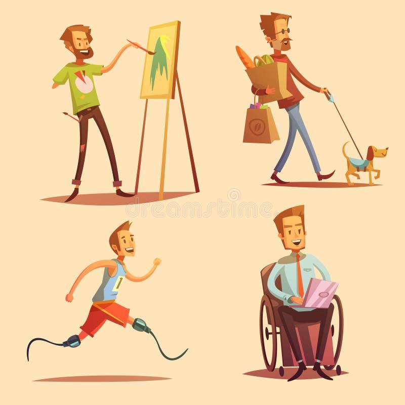 Disabled People Retro Cartoon 2x2 Icons Set. Disabled people leading happy life retro cartoon 2x2 flat icons set vector illustration stock illustration