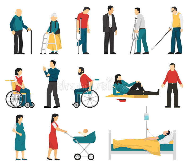Disabled People Set. Set of disabled people including blind deaf injured and elderly persons pregnant woman infant isolated vector illustration royalty free illustration