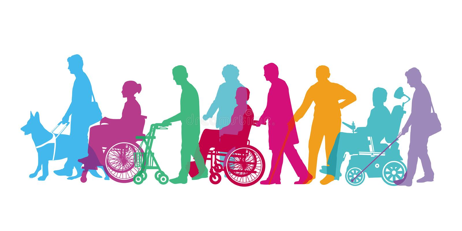 Disabled people. Silhouettes of disabled people with wheelchairs and guide dogs royalty free stock image
