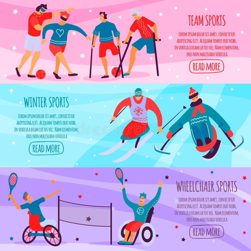 Disabled People Sport Flat Banner Set. Three horizontal disabled people sport flat banner set with team winter and wheelchair sports descriptions vector stock illustration