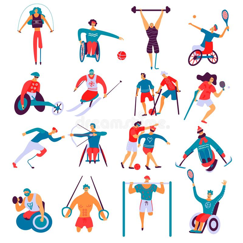Disabled People Sport Flat Set royalty free illustration