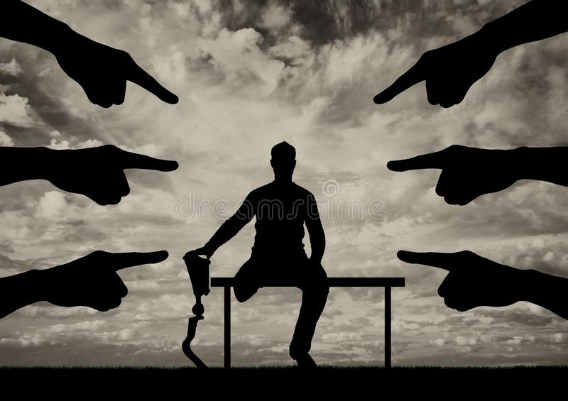 Concept of disability discrimination, social problems stock photo