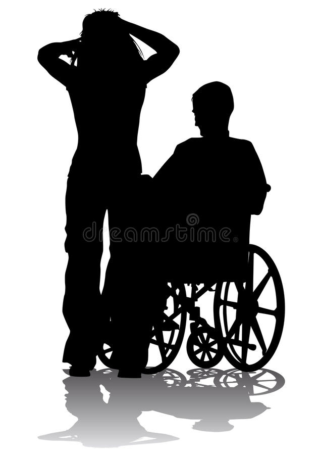Disabled person on a walk stock illustration