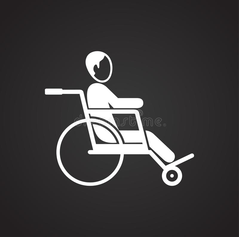 Disabled person on wheelchair on black background vector illustration
