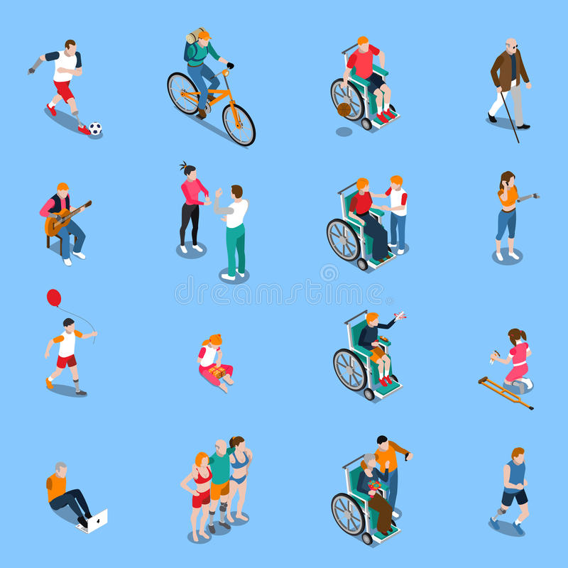 Disabled Persons Isometric Set. With adults and kids in different activities including sports music isolated vector illustration royalty free illustration