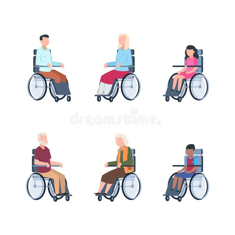 Disabled persons. Young people rehabilitation in a wheelchair hospitalized. Vector illustration children, handicapped royalty free illustration