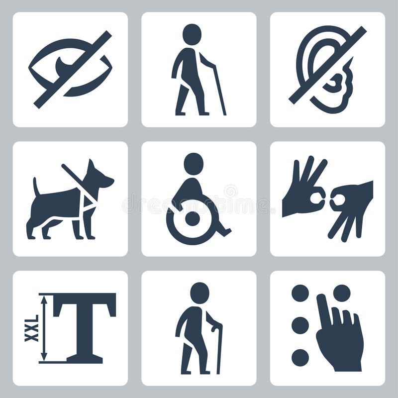 Disabled releated vector icons royalty free illustration