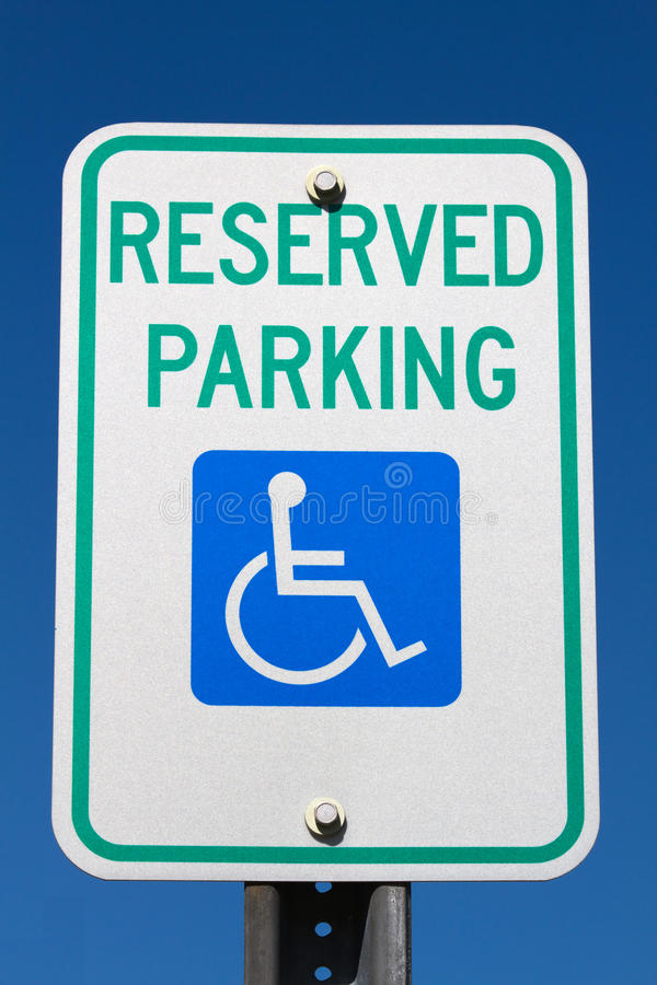 Free Disabled Reserved Parking Sign Royalty Free Stock Photography - 25339347