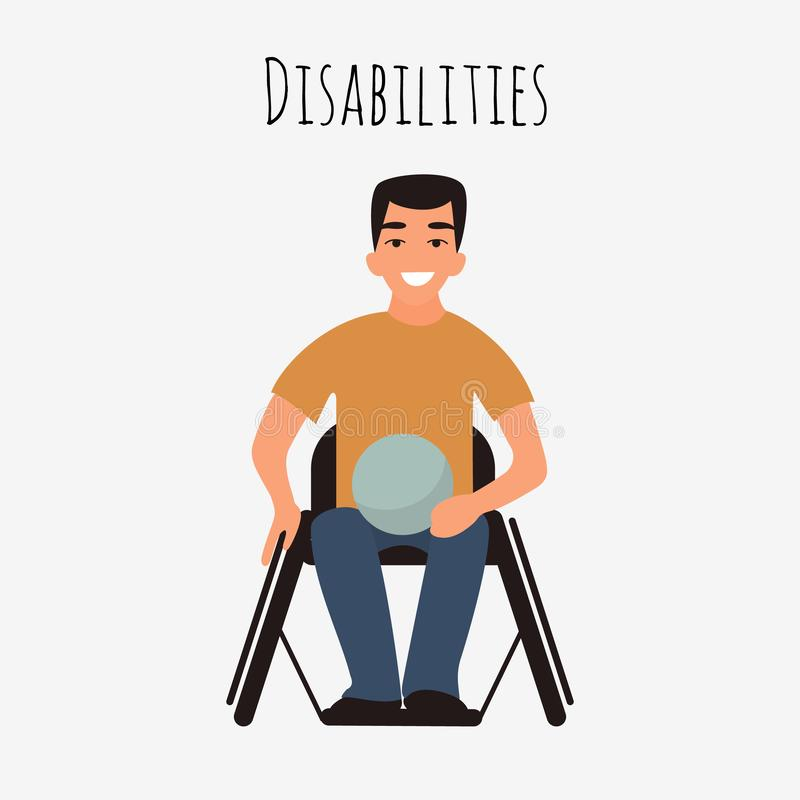 Disabled rugby player in a wheelchair. Caucasian young handicapped player man. Athlete with physical disorder. Flat royalty free illustration