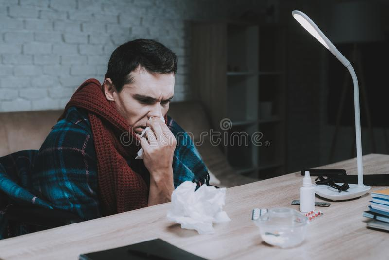 Disabled Sick Young Man on Wheelchair at Home. royalty free stock photography