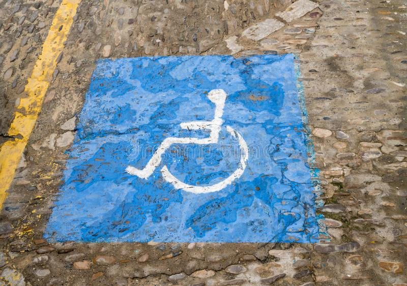 Disabled sign in Arcos de la Frontera near Cadiz Spain stock photo