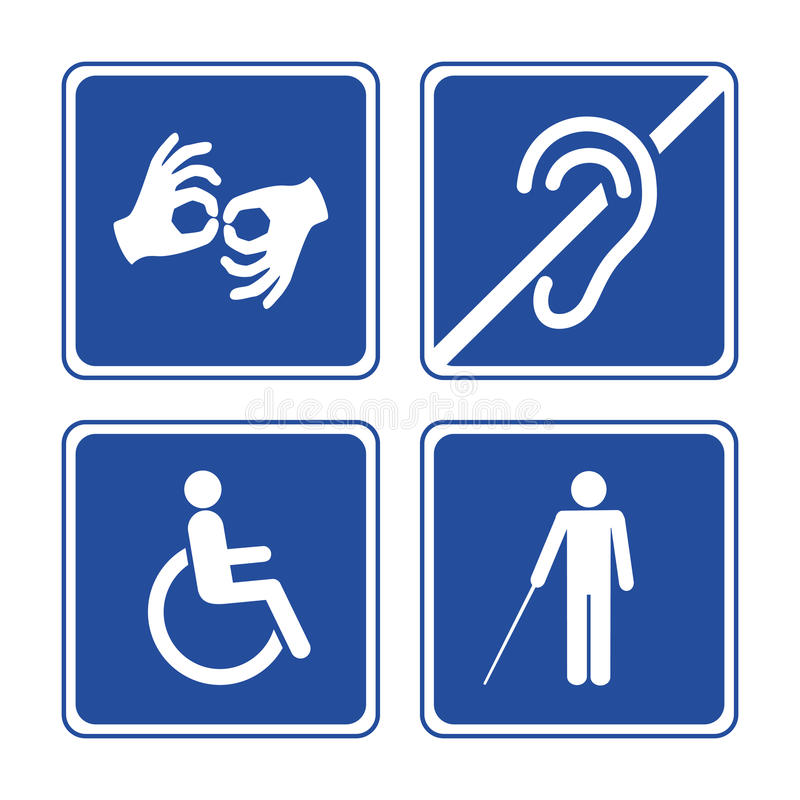 Disabled signs. Deaf, blind, mute and wheelchair vector icons vector illustration