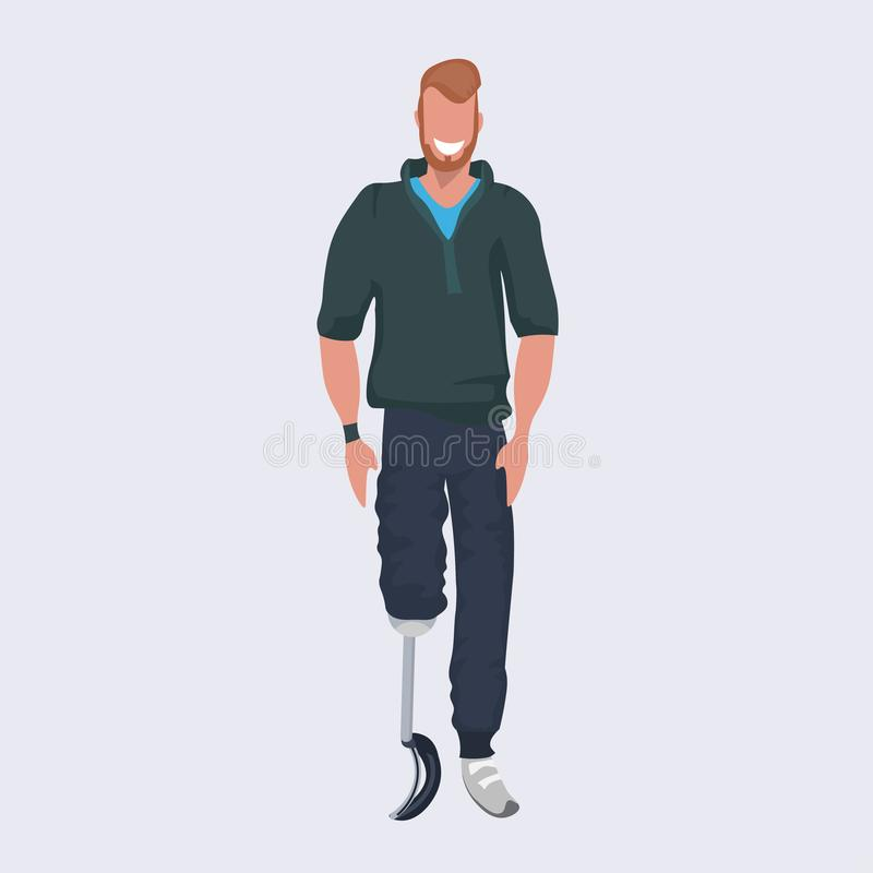 Disabled smiling man with prosthesis artificial leg standing pose flat full length. Vector illustration royalty free illustration