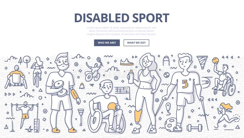 Disabled Sport Doodle Concept. Group of satisfied athletes with physical disabilities from different sports. Concept of inclusive and disabled sports. Doodle stock illustration