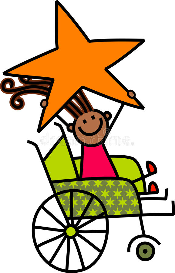 Disabled Star Girl. A cartoon childlike drawing of a happy disabled girl sitting in a wheelchair and holding a giant star stock illustration