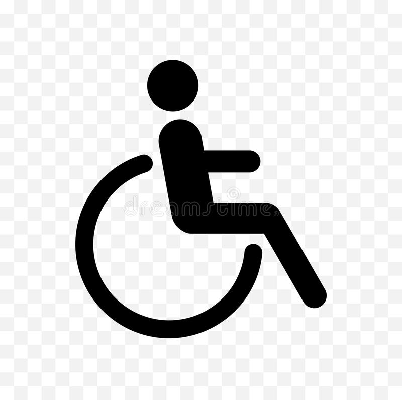 Disabled symbol. Man in wheelchair icon, handicapped symbol, black isolated disabled icon vector illustration