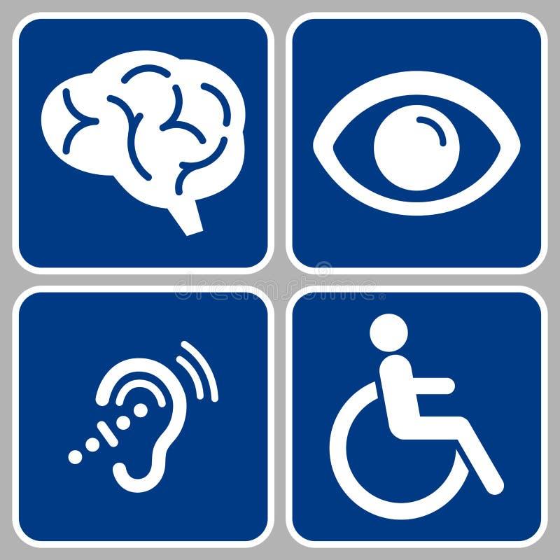 Disabled signs. Disabled symbols, blue disability symbols, sensory, mental, physical disable people symbols vector illustration