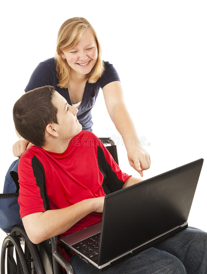 Download Disabled Teen And Friend On Computer Stock Image - Image: 13047463