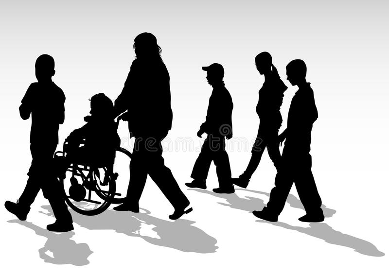 Disabled walk. Graphic disabled and women on a walk. Silhouettes of people vector illustration