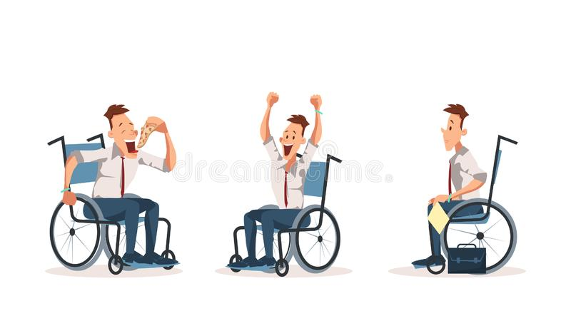 Disabled Wheelchair Coworker Express Emotion Set stock illustration