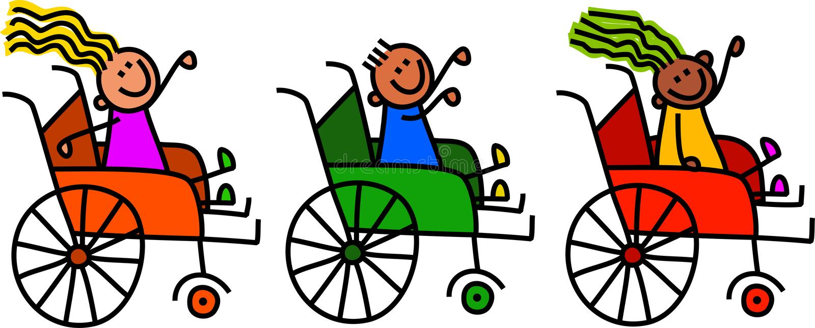 Disabled wheelchair kids stock illustration illustration for Sedia a rotelle cartoon