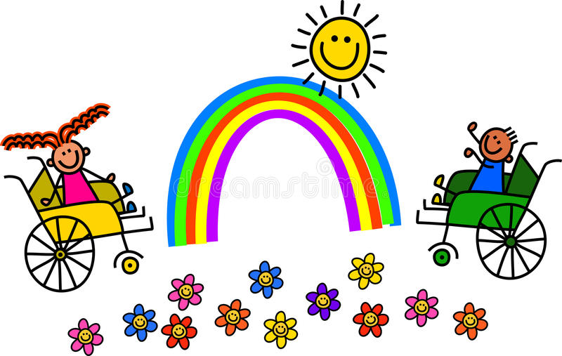 Disabled Wheelchair Kids royalty free illustration