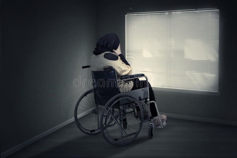 Disabled woman expressing depressed at home royalty free stock photos