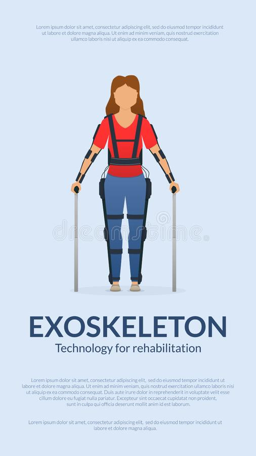 Disabled woman stay with medical exoskeleton. Banner template. Medicine of the future, bionics technology. Vector. Disabled woman stay with medical exoskeleton stock illustration