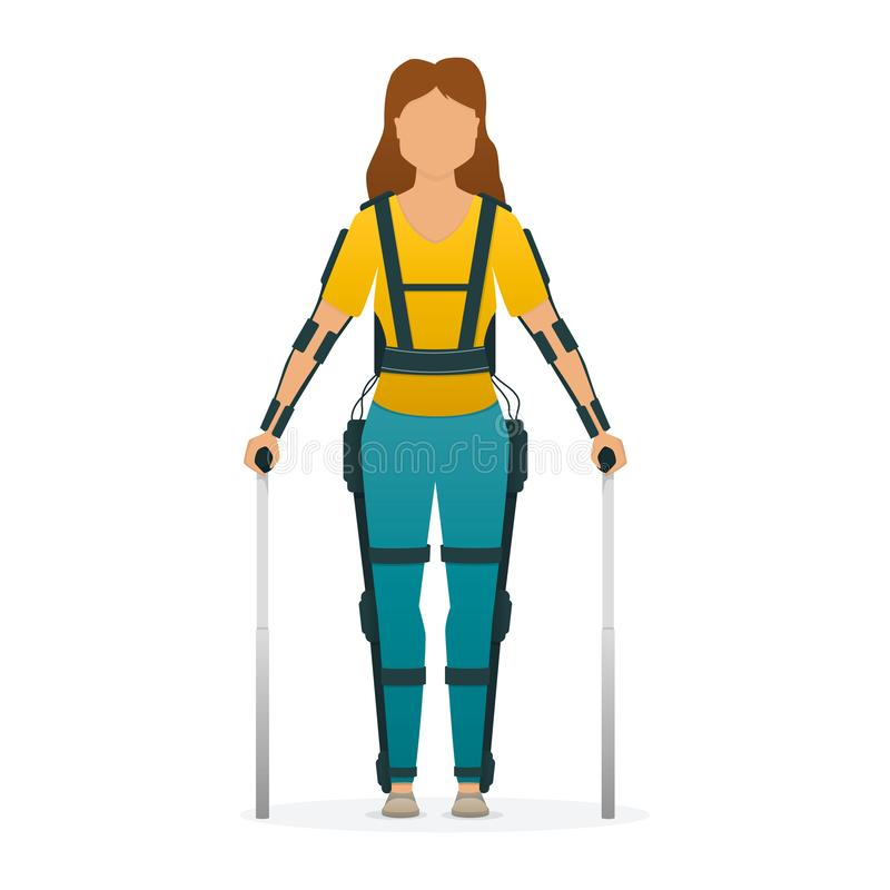 Disabled woman stay with medical exoskeleton. Medicine of the future, bionics technology. Vector. Disabled woman stay with medical exoskeleton. Medicine of the royalty free illustration