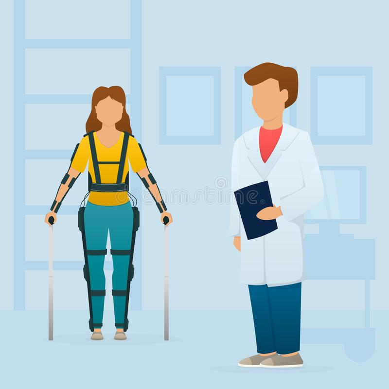 Disabled woman stay with medical exoskeleton near the doctor. Rehabilitation. Vector. Disabled woman stay with medical exoskeleton near the doctor royalty free illustration