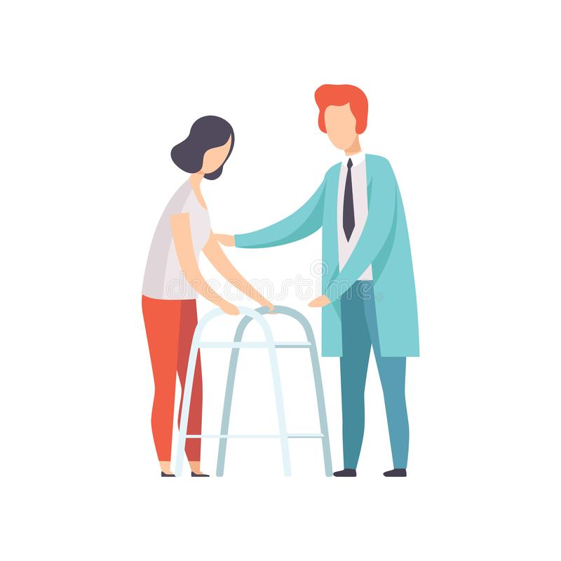 Disabled woman walking, using a walker, medical rehabilitation, physical therapy activity vector Illustration on a white vector illustration