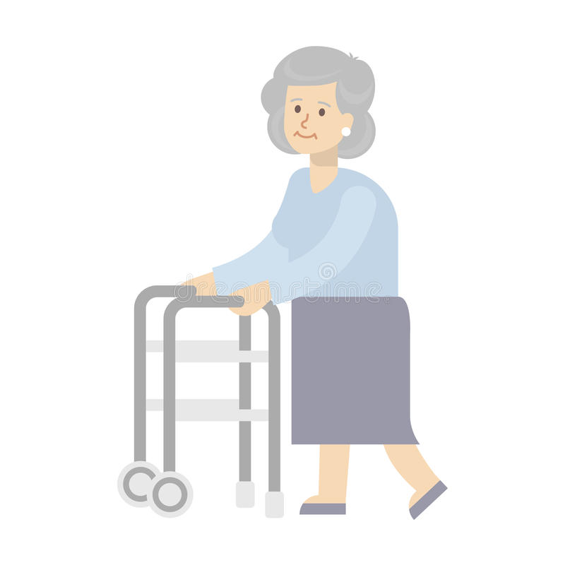 Disabled woman. Disabled woman on white background. Old woman with walker vector illustration