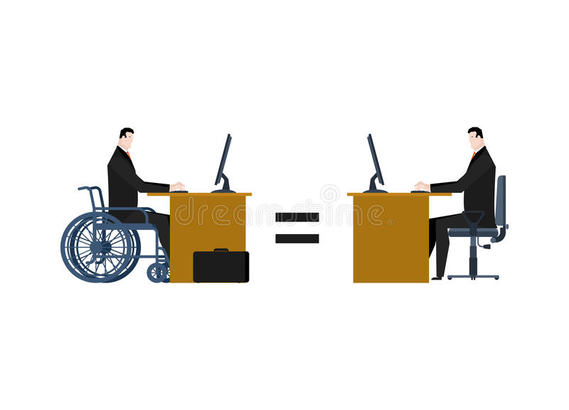 Disabled at work. manager on wheelchair at table. Equal rights f. Or people with disabilities stock illustration