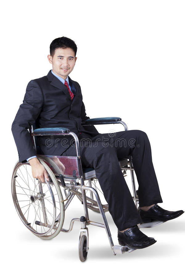 Disabled young entrepreneur in wheelchair stock images